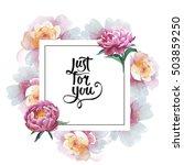 wildflower peony flower frame... | Shutterstock . vector #503859250