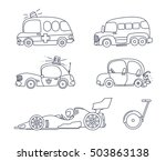 set of cute car coloring page...