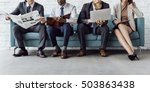 business people sitting sofa... | Shutterstock . vector #503863438