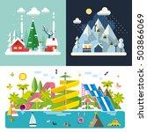set of different landscapes in... | Shutterstock .eps vector #503866069