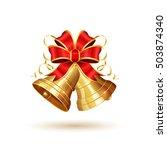 golden christmas bells with red ...   Shutterstock . vector #503874340