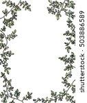 watercolor herbal frame...   Shutterstock .eps vector #503886589