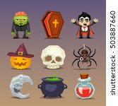funny halloween icons set 3 | Shutterstock .eps vector #503887660