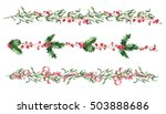 hand drawn watercolor christmas ... | Shutterstock . vector #503888686