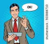 pop art businessman with tablet ... | Shutterstock .eps vector #503888710