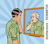 pop art shocked man looking at... | Shutterstock .eps vector #503888734