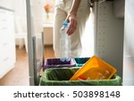 man putting empty plastic... | Shutterstock . vector #503898148