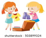 two girls packing suitcase... | Shutterstock .eps vector #503899324