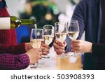 person filling flutes with... | Shutterstock . vector #503908393
