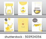 Stock vector set of cute animals poster template cards elephant bird fish bear zoo vector illustrations 503924356