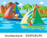 two boys sailing boat in river... | Shutterstock .eps vector #503928190