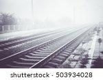 Railways In The Fog. Old ...