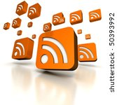 Multiple orange RSS computer icons floating in a white background - stock photo