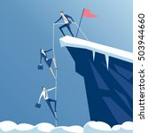 leader helps the team climb to... | Shutterstock .eps vector #503944660