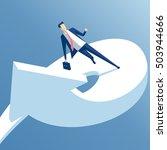 businessman runs on a growing... | Shutterstock .eps vector #503944666