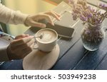 coffee morning to set mail on... | Shutterstock . vector #503949238