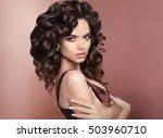 curly hair. attractive brunette ... | Shutterstock . vector #503960710