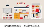 Stock vector vector illustration of the young man s room flat design illustration 503968216