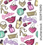 hand drawn patter. fashion... | Shutterstock .eps vector #503974090