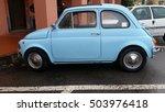 Small photo of Ventimiglia, Italy - October 23, 2016: Small Italian Car Fiat 500 Parked on the Street of Ventimiglia. Blue Fiat 500 L