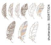 pen bird hand draw set | Shutterstock .eps vector #503977324