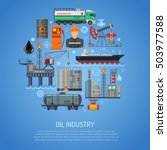 oil industry concept with flat... | Shutterstock .eps vector #503977588