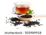 black tea in glass cup with... | Shutterstock . vector #503989918