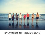 young people standing near sea... | Shutterstock . vector #503991643