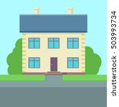 happy house  web banner in flat ... | Shutterstock . vector #503993734