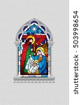stained glass window depicting... | Shutterstock .eps vector #503998654