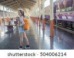 asian lady traveler backpack... | Shutterstock . vector #504006214