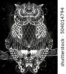 vector hand drawn owl sitting... | Shutterstock .eps vector #504014794
