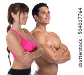 fitness young woman man fit... | Shutterstock . vector #504017764