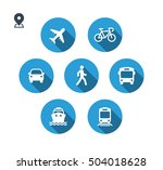 transport icons. walk man  bike ... | Shutterstock .eps vector #504018628