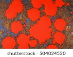 splashes of red paint on rusty... | Shutterstock . vector #504024520