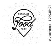 homemade food point sign. hand... | Shutterstock .eps vector #504025474