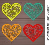set stencil lacy hearts with... | Shutterstock .eps vector #504028594