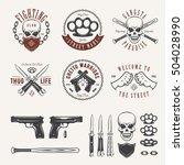 gangster labels badges emblems... | Shutterstock .eps vector #504028990