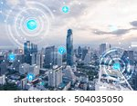 city with icons of wireless... | Shutterstock . vector #504035050
