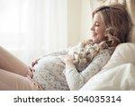 beautiful pregnant woman in... | Shutterstock . vector #504035314