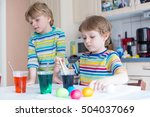 two adorable siblings coloring... | Shutterstock . vector #504037069