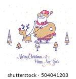 set of funny santa... | Shutterstock .eps vector #504041203