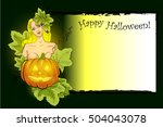beauty lady with pumpkin and... | Shutterstock .eps vector #504043078