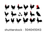 Set Of Vector Rooster...