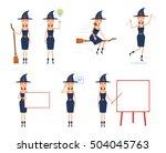 set of halloween witch...   Shutterstock .eps vector #504045763