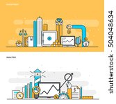 set of flat line color banners... | Shutterstock .eps vector #504048634