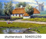 ukraine paintings landscape ... | Shutterstock . vector #504051250