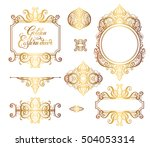 set of floral golden eastern... | Shutterstock . vector #504053314