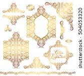 set of floral golden eastern...   Shutterstock . vector #504053320