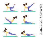 set yoga poses  a girl... | Shutterstock .eps vector #504057973